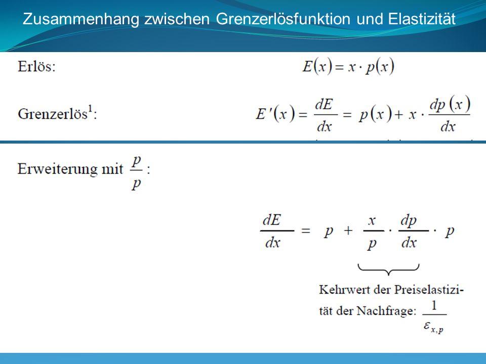 Gleichung von Amoroso und Robinson Am Umsatzmaximum ist die Elastizität der Nachfrage -1