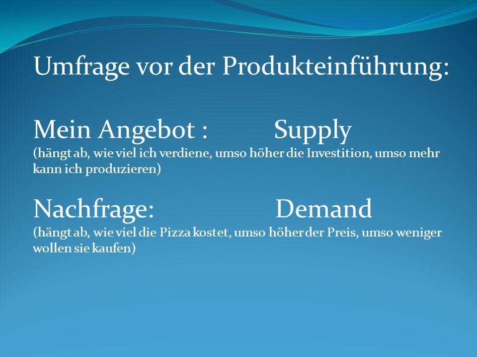 Umfrage vor der Produkteinführung: Mein Angebot : Supply (hängt ab, wie viel ich verdiene, umso höher die Investition, umso mehr kann ich produzieren)