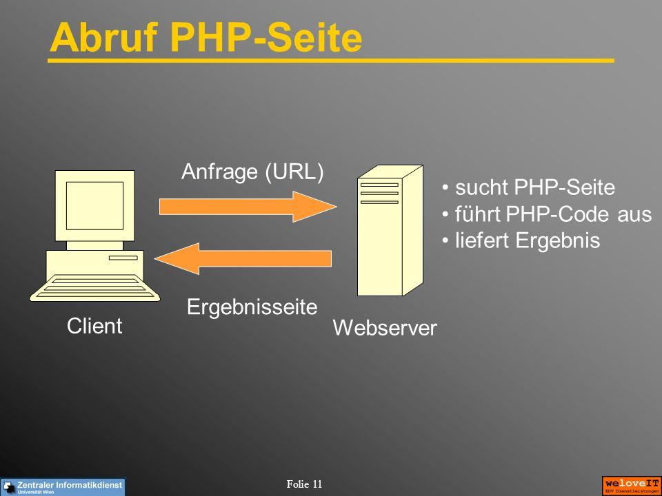 Folie 11 Abruf PHP-Seite Client Webserver Anfrage (URL) Ergebnisseite sucht PHP-Seite führt PHP-Code aus liefert Ergebnis