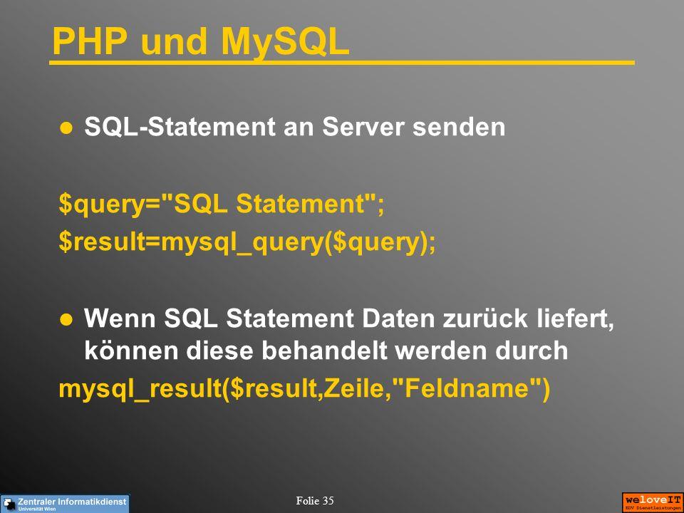 Folie 35 PHP und MySQL SQL-Statement an Server senden $query=