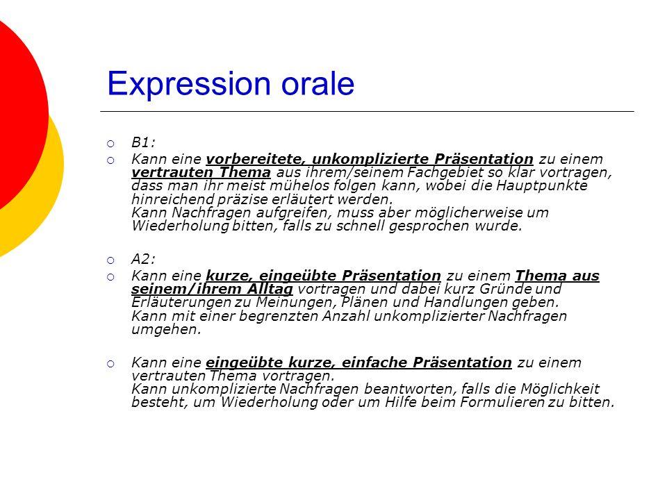 Expression orale B1: Kann eine vorbereitete, unkomplizierte Präsentation zu einem vertrauten Thema aus ihrem/seinem Fachgebiet so klar vortragen, dass man ihr meist mühelos folgen kann, wobei die Hauptpunkte hinreichend präzise erläutert werden.