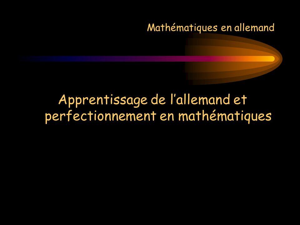 Mathématiques en allemand Apprentissage de lallemand et perfectionnement en mathématiques