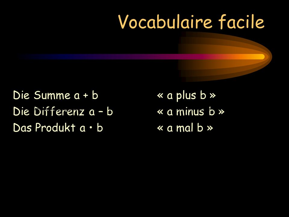 Vocabulaire facile Die Summe a + b« a plus b » Die Differenz a – b« a minus b » Das Produkt a b « a mal b »