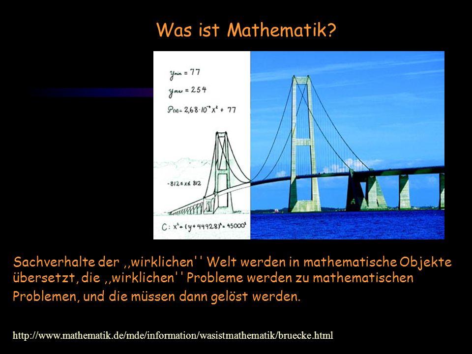 Was ist Mathematik? Sachverhalte der,,wirklichen'' Welt werden in mathematische Objekte übersetzt, die,,wirklichen'' Probleme werden zu mathematischen
