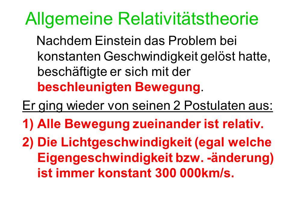 Allgemeine Relativitätstheorie Nachdem Einstein das Problem bei konstanten Geschwindigkeit gelöst hatte, beschäftigte er sich mit der beschleunigten Bewegung.