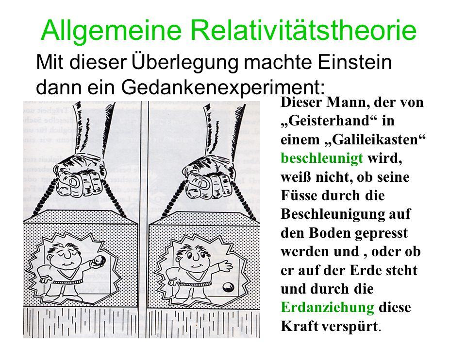 Allgemeine Relativitätstheorie Mit dieser Überlegung machte Einstein dann ein Gedankenexperiment: Dieser Mann, der von Geisterhand in einem Galileikasten beschleunigt wird, weiß nicht, ob seine Füsse durch die Beschleunigung auf den Boden gepresst werden und, oder ob er auf der Erde steht und durch die Erdanziehung diese Kraft verspürt.