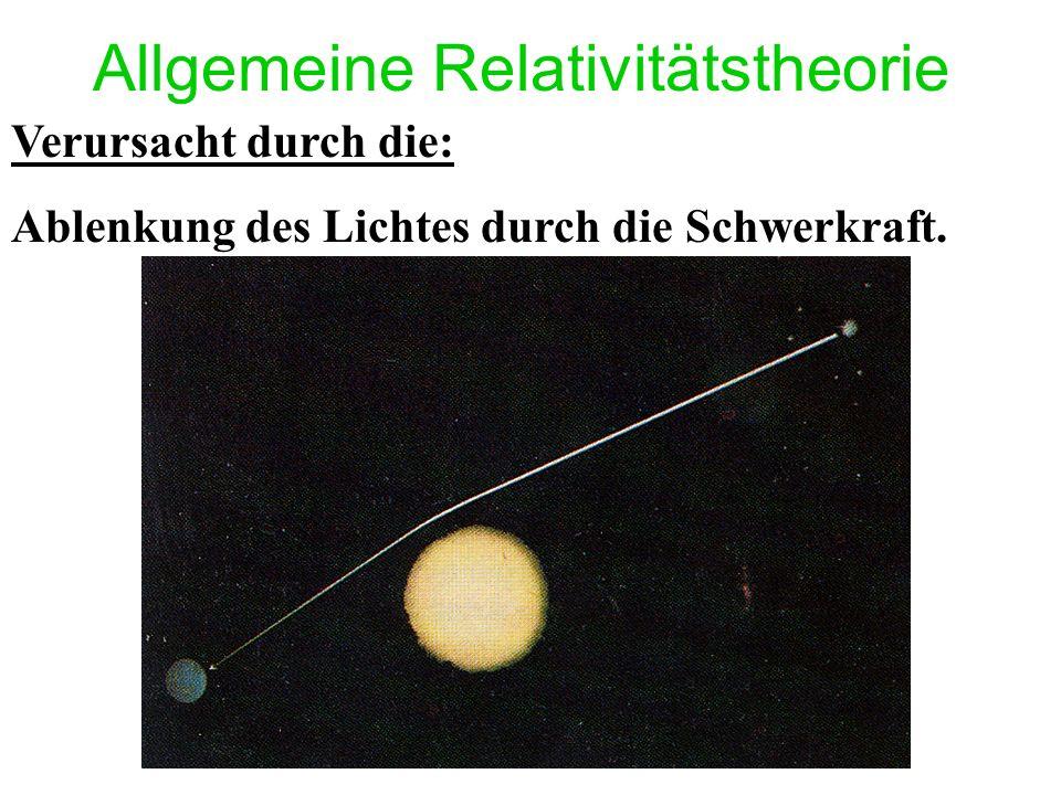 Allgemeine Relativitätstheorie Verursacht durch die: Ablenkung des Lichtes durch die Schwerkraft.