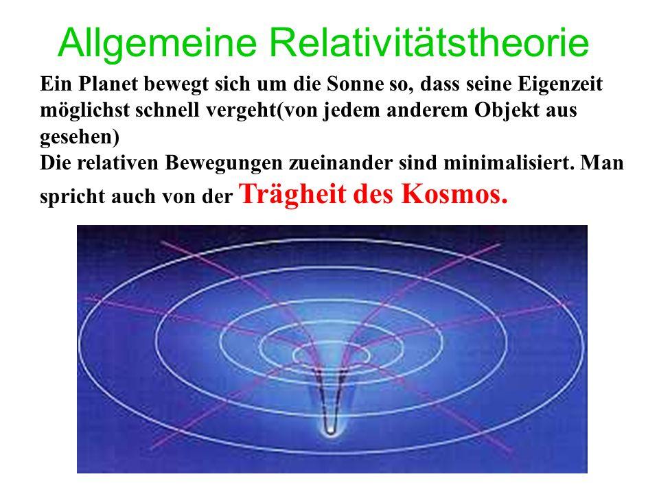 Allgemeine Relativitätstheorie Ein Planet bewegt sich um die Sonne so, dass seine Eigenzeit möglichst schnell vergeht(von jedem anderem Objekt aus gesehen) Die relativen Bewegungen zueinander sind minimalisiert.