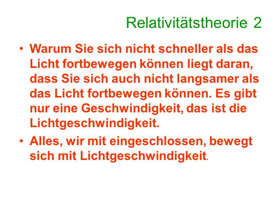 Relativitätstheorie 2 Darstellung eines Objektes, das sich nicht bewegt.
