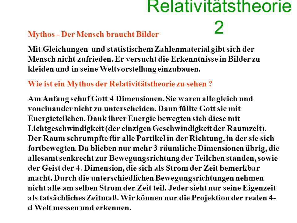 Relativitätstheorie 2 Mythos - Der Mensch braucht Bilder Mit Gleichungen und statistischem Zahlenmaterial gibt sich der Mensch nicht zufrieden.