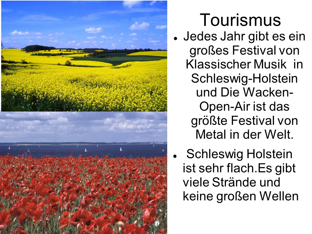 Tourismus Jedes Jahr gibt es ein großes Festival von Klassischer Musik in Schleswig-Holstein und Die Wacken- Open-Air ist das größte Festival von Metal in der Welt.