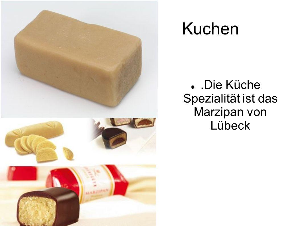 Kuchen.Die Küche Spezialität ist das Marzipan von Lübeck