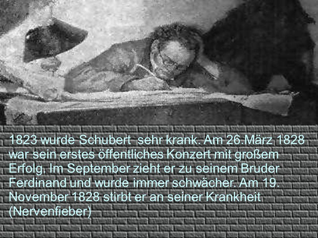 1823 wurde Schubert sehr krank. Am 26.März 1828 war sein erstes öffentliches Konzert mit großem Erfolg. Im September zieht er zu seinem Bruder Ferdina