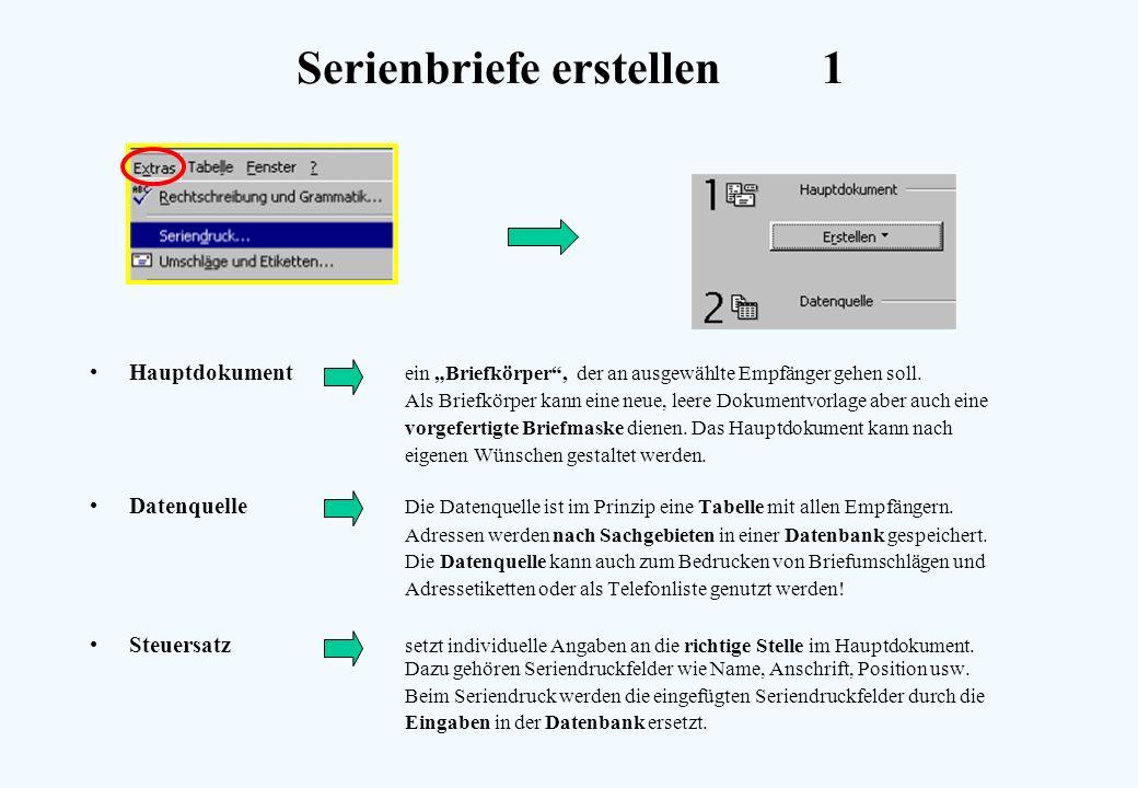 Serienbriefe erstellen1 Hauptdokument ein Briefkörper, der an ausgewählte Empfänger gehen soll. Als Briefkörper kann eine neue, leere Dokumentvorlage