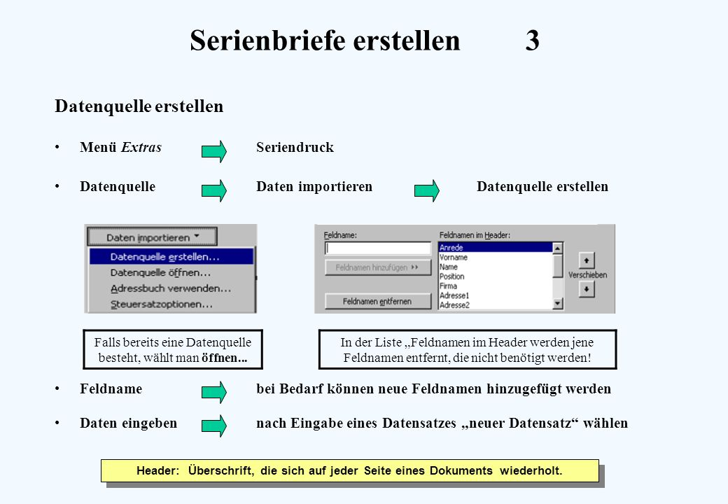 Serienbriefe erstellen3 Datenquelle erstellen Menü ExtrasSeriendruck DatenquelleDaten importieren Datenquelle erstellen Feldnamebei Bedarf können neue