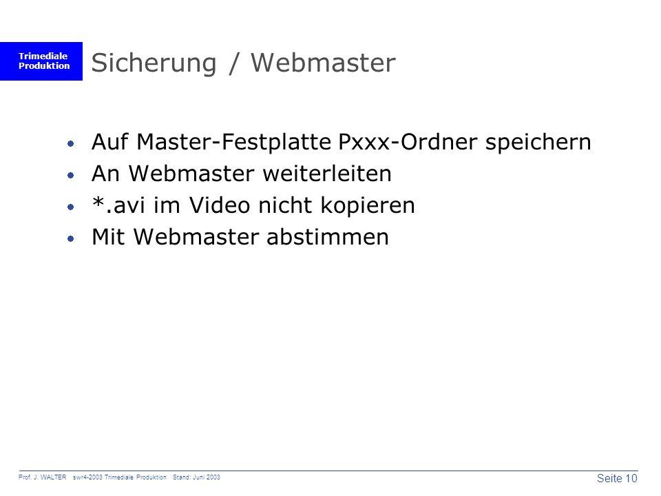 Trimediale Produktion Seite 10 Prof. J. WALTER swr4-2003 Trimediale Produktion Stand: Juni 2003 Sicherung / Webmaster Auf Master-Festplatte Pxxx-Ordne