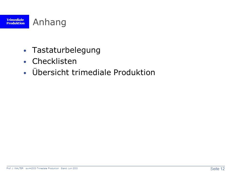 Trimediale Produktion Seite 12 Prof. J. WALTER swr4-2003 Trimediale Produktion Stand: Juni 2003 Anhang Tastaturbelegung Checklisten Übersicht trimedia