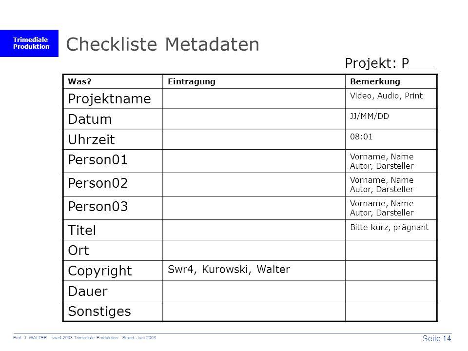 Trimediale Produktion Seite 14 Prof. J. WALTER swr4-2003 Trimediale Produktion Stand: Juni 2003 Checkliste Metadaten Was?EintragungBemerkung Projektna