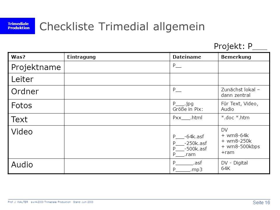 Trimediale Produktion Seite 16 Prof. J. WALTER swr4-2003 Trimediale Produktion Stand: Juni 2003 Checkliste Trimedial allgemein Was?EintragungDateiname