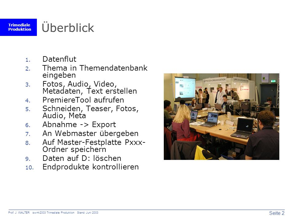 Trimediale Produktion Seite 2 Prof. J. WALTER swr4-2003 Trimediale Produktion Stand: Juni 2003 Überblick 1. Datenflut 2. Thema in Themendatenbank eing