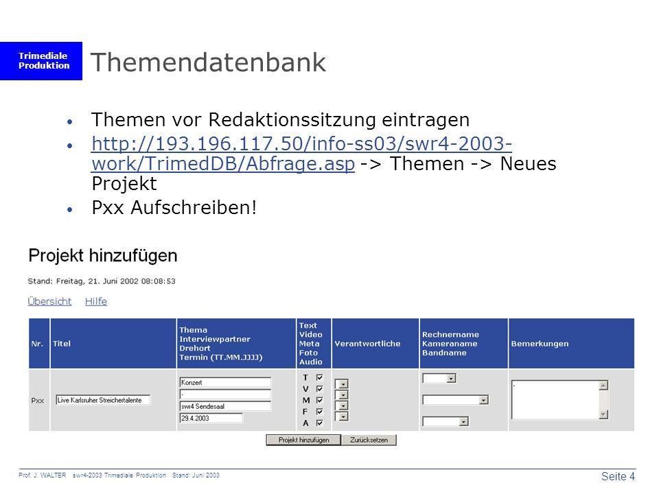 Trimediale Produktion Seite 4 Prof. J. WALTER swr4-2003 Trimediale Produktion Stand: Juni 2003 Themendatenbank Themen vor Redaktionssitzung eintragen