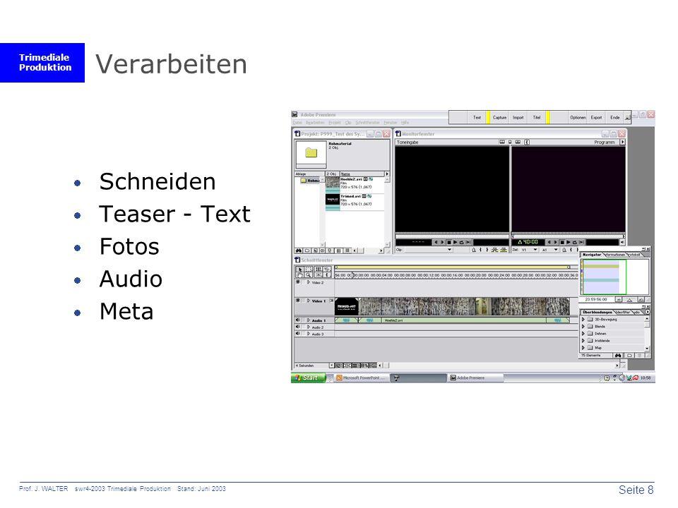 Trimediale Produktion Seite 8 Prof. J. WALTER swr4-2003 Trimediale Produktion Stand: Juni 2003 Verarbeiten Schneiden Teaser - Text Fotos Audio Meta