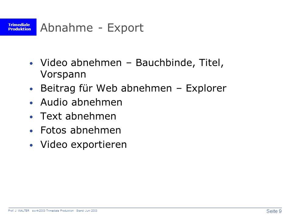 Trimediale Produktion Seite 9 Prof. J. WALTER swr4-2003 Trimediale Produktion Stand: Juni 2003 Abnahme - Export Video abnehmen – Bauchbinde, Titel, Vo