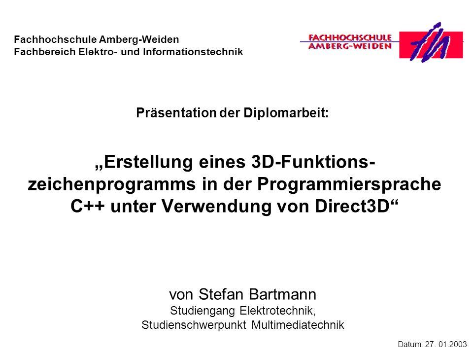2 Vortragsinhalt Klärung der Aufgabenstellung Funktionsweise von Direct3D Bestandteile des Funktionszeichenprogrammes Demonstration des Funktionszeichenprogrammes Zusammenfassung