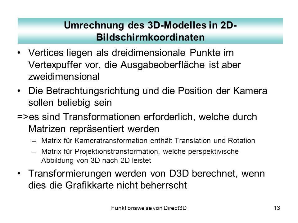Funktionsweise von Direct3D13 Vertices liegen als dreidimensionale Punkte im Vertexpuffer vor, die Ausgabeoberfläche ist aber zweidimensional Die Betr