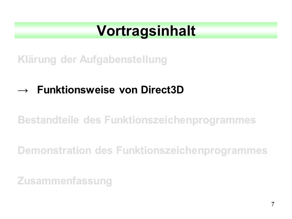 7 Vortragsinhalt Klärung der Aufgabenstellung Funktionsweise von Direct3D Bestandteile des Funktionszeichenprogrammes Demonstration des Funktionszeich