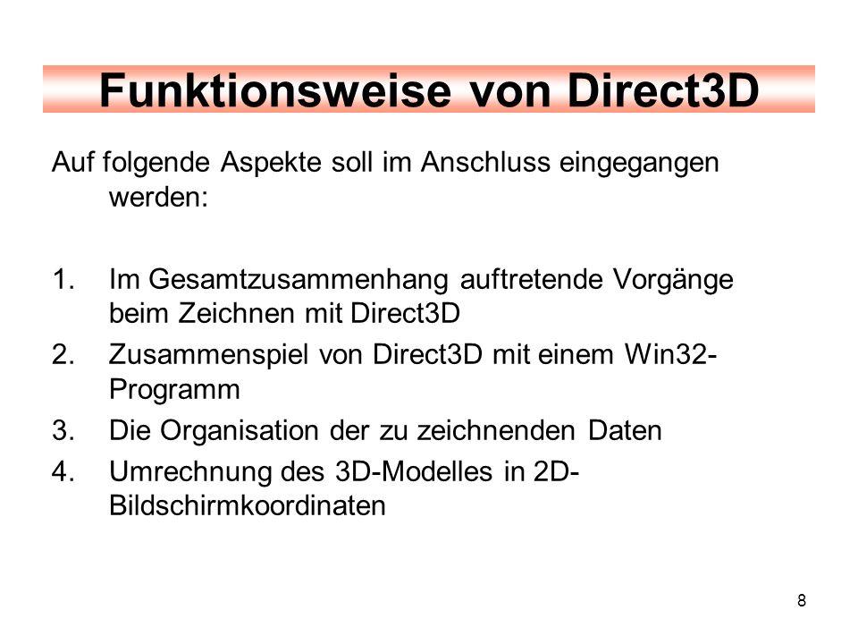 8 Auf folgende Aspekte soll im Anschluss eingegangen werden: 1.Im Gesamtzusammenhang auftretende Vorgänge beim Zeichnen mit Direct3D 2.Zusammenspiel v