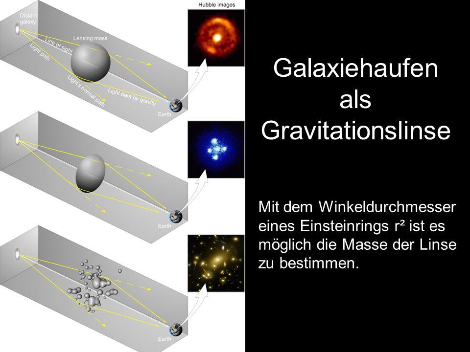 Galaxiehaufen als Gravitationslinse Mit dem Winkeldurchmesser eines Einsteinrings r² ist es möglich die Masse der Linse zu bestimmen.