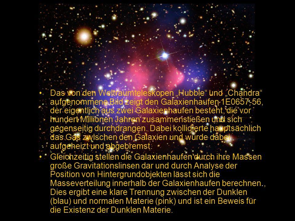 Das von den Weltraumteleskopen Hubble und Chandra aufgenommene Bild zeigt den Galaxienhaufen 1E0657-56, der eigentlich aus zwei Galaxienhaufen besteht