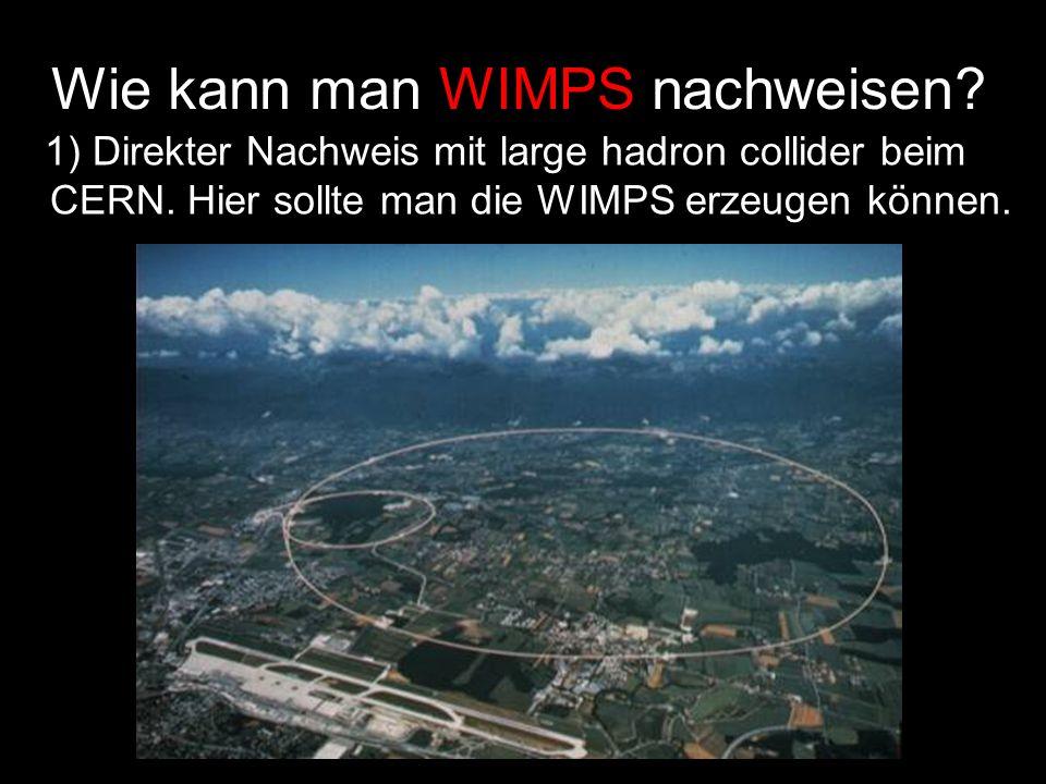 Wie kann man WIMPS nachweisen? 1) Direkter Nachweis mit large hadron collider beim CERN. Hier sollte man die WIMPS erzeugen können.