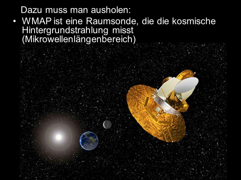Dazu muss man ausholen: WMAP ist eine Raumsonde, die die kosmische Hintergrundstrahlung misst (Mikrowellenlängenbereich)