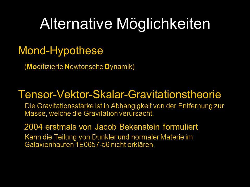 Alternative Möglichkeiten Mond-Hypothese (Modifizierte Newtonsche Dynamik) Tensor-Vektor-Skalar-Gravitationstheorie Die Gravitationsstärke ist in Abhä