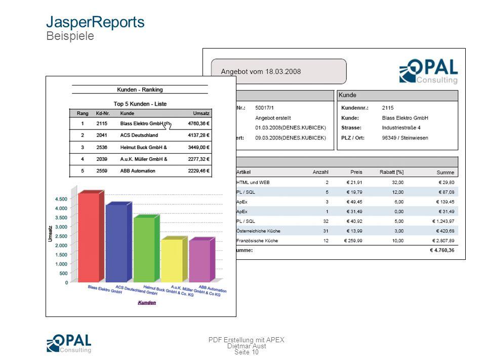 Seite 10 PDF Erstellung mit APEX Dietmar Aust JasperReports Beispiele