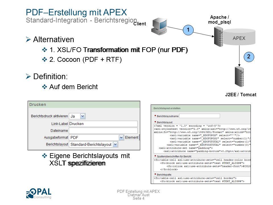 Seite 4 PDF Erstellung mit APEX Dietmar Aust PDF–Erstellung mit APEX Standard-Integration - Berichtsregion Alternativen 1.