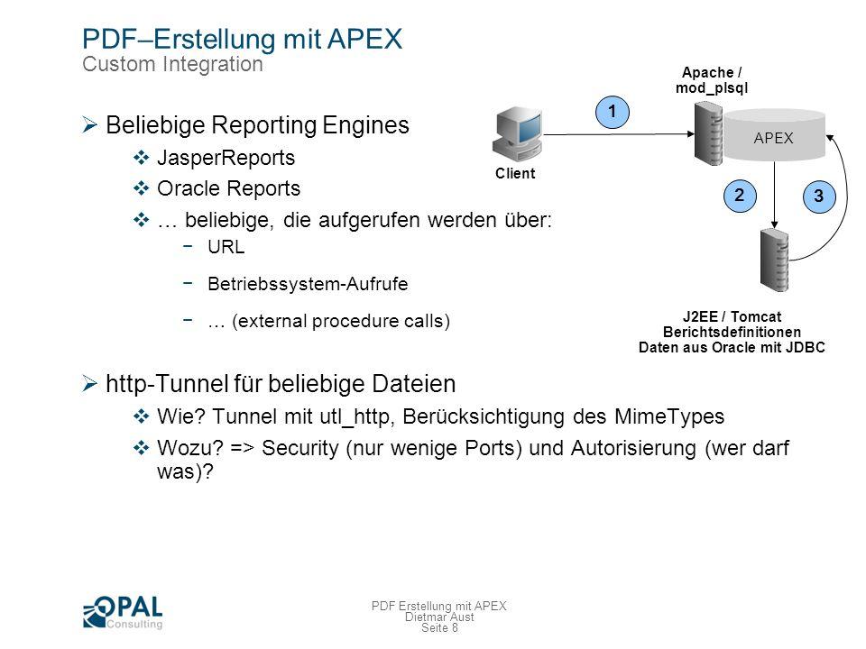 Seite 9 PDF Erstellung mit APEX Dietmar Aust JasperReports Übersicht JasperReports sehr beliebte Reporting Engine Java Bibliothek, um Reporting in Applikationen zu integrieren Standard im JBOSS Viele Projekte und große Kunden setzen es ein Berichtsdefinitionen in XML Funktionalitäten Datenquellen : JDBC, XML, OLAP, TEXT, … Ausgabeformate: PDF, XLS, HTML, CSV, TEXT, RTF, ODF Matrixberichte Multiple Datenquellen pro Bericht Berichtstrigger Unterberichte Bedingte Formatierung Fonts, Unicode, NLS …