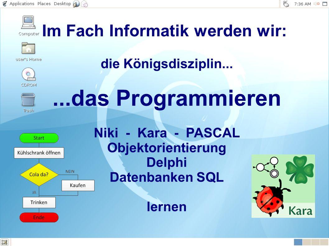 die Königsdisziplin......das Programmieren Niki - Kara - PASCAL Objektorientierung Delphi Datenbanken SQL lernen Im Fach Informatik werden wir: