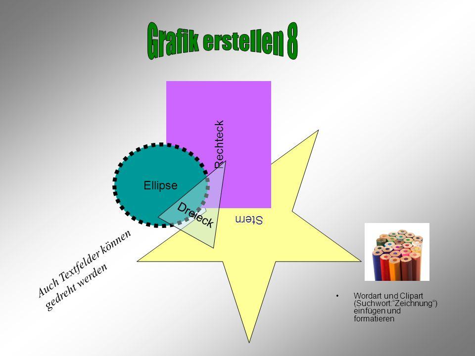Stern Rechteck Wordart und Clipart (Suchwort:Zeichnung) einfügen und formatieren Ellipse Dreieck Auch Textfelder können gedreht werden