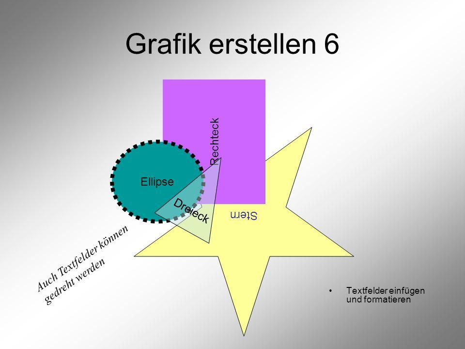 Stern Rechteck Grafik erstellen 6 Textfelder einfügen und formatieren Ellipse Dreieck Auch Textfelder können gedreht werden