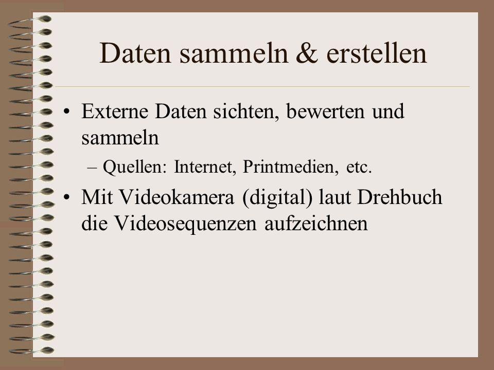 Daten sammeln & erstellen Externe Daten sichten, bewerten und sammeln –Quellen: Internet, Printmedien, etc. Mit Videokamera (digital) laut Drehbuch di