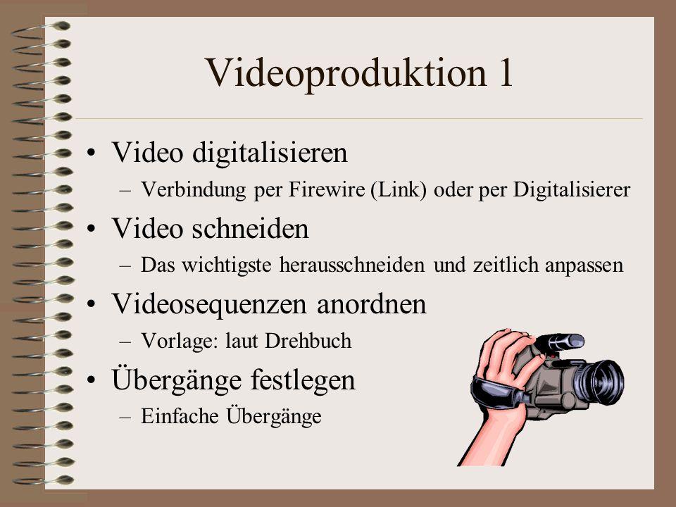 Videoproduktion 1 Video digitalisieren –Verbindung per Firewire (Link) oder per Digitalisierer Video schneiden –Das wichtigste herausschneiden und zei