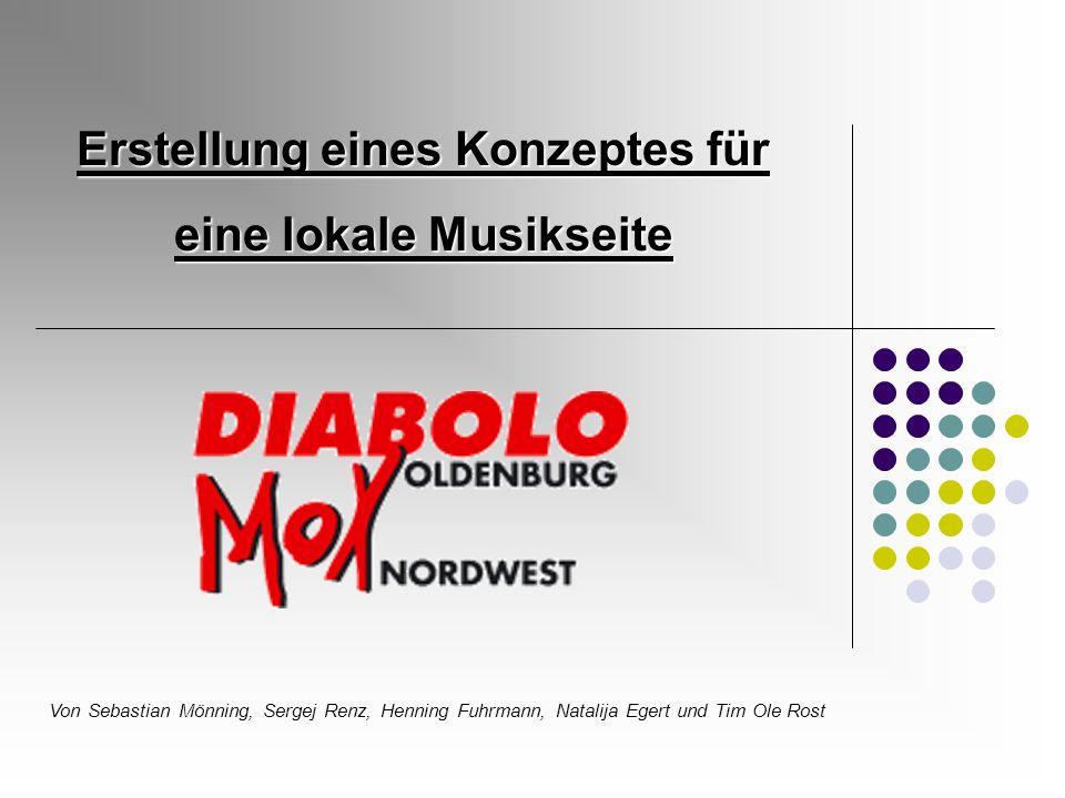 Erstellung eines Konzeptes für eine lokale Musikseite Von Sebastian Mönning, Sergej Renz, Henning Fuhrmann, Natalija Egert und Tim Ole Rost