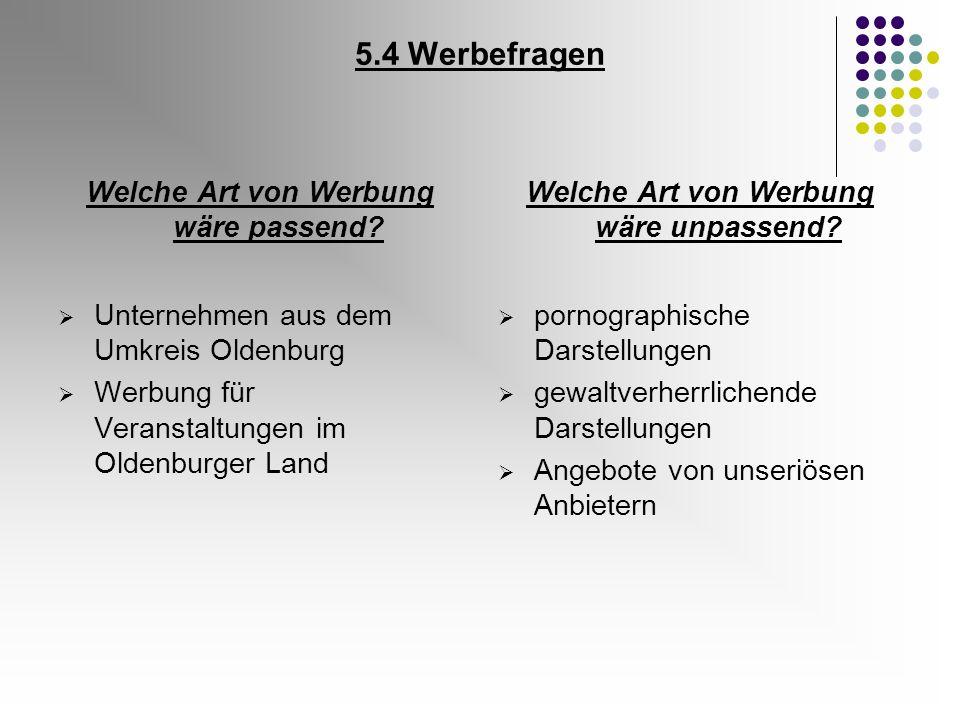 5.4 Werbefragen Welche Art von Werbung wäre passend? Unternehmen aus dem Umkreis Oldenburg Werbung für Veranstaltungen im Oldenburger Land Welche Art