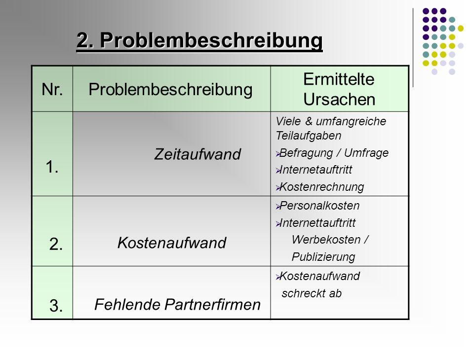 2. Problembeschreibung Nr.Problembeschreibung Ermittelte Ursachen 1. Zeitaufwand Viele & umfangreiche Teilaufgaben Befragung / Umfrage Internetauftrit