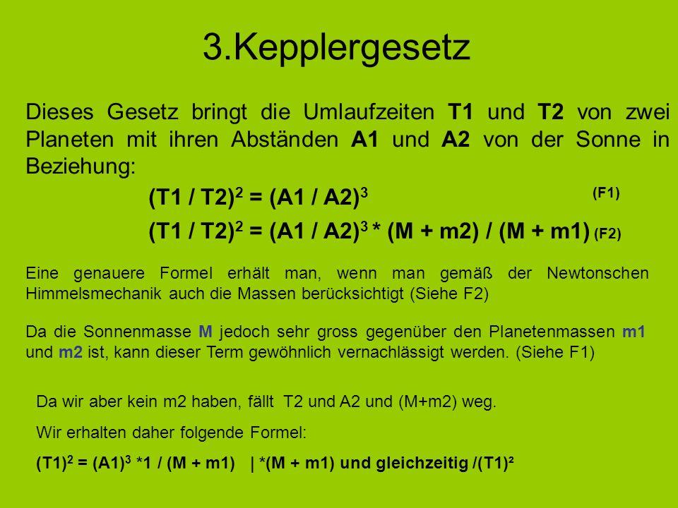 3.Kepplergesetz Dieses Gesetz bringt die Umlaufzeiten T1 und T2 von zwei Planeten mit ihren Abständen A1 und A2 von der Sonne in Beziehung: (T1 / T2)