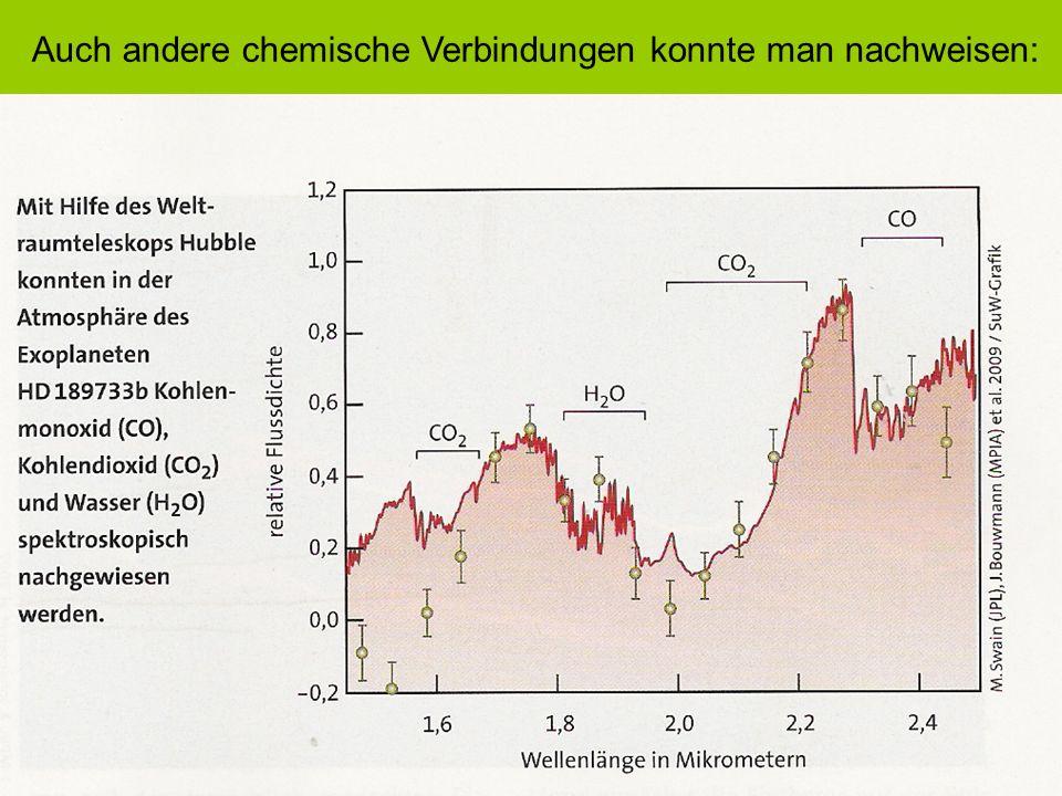 Auch andere chemische Verbindungen konnte man nachweisen: