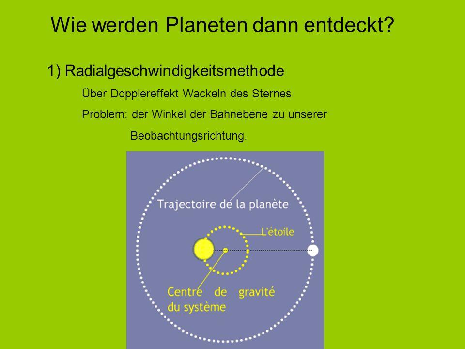 1) Radialgeschwindigkeitsmethode Über Dopplereffekt Wackeln des Sternes Problem: der Winkel der Bahnebene zu unserer Beobachtungsrichtung. Wie werden